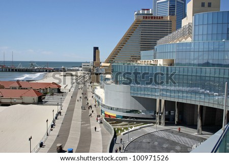 ATLANTIC CITY - APRIL 8: The boardwalk in Atlantic City as seen from the new Revel Hotel on April 8, 2012.  Atlantic City brings in approximately 3 billion dollars of gaming revenue annually. - stock photo