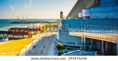 ATLANTIC CITY - MAY 30: View of the boardwalk from Revel Casino Hotel on May 30, 2014, in Atlantic City, New Jersey. Revel is the tallest building in Atlantic City and a popular casino and resort. - stock photo