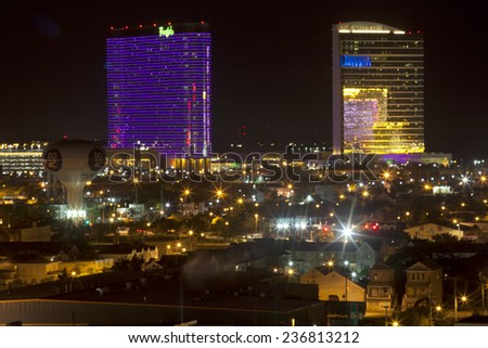 Atlantic City, New Jersey, USA - Aug  30, 2014:  Borgata Casino (left) and the Water Club Casino in the back bay marina district of Atlantic City, New Jersey on Aug  30, 2014 - stock photo