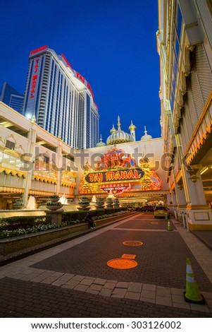 ATLANTIC CITY, NJ - August 3: Casinos on August 3, 2015 in Atlantic City, New Jersey. Gambling was legalized in the city in 1976 and led to a resurgence. - stock photo