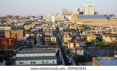 ATLANTIC CITY, NJ - JUL 11: View of Atlantic City in New Jersey, as seen on July 11, 2015. It is known for its casinos, boardwalk and beach. - stock photo
