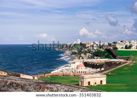 Atlantic coast in San Juan, Puerto Rico - stock photo