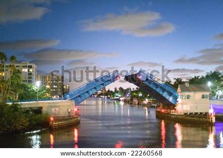 atlantic intracoastal waterway in palm beach region of southeast florida at dusk - stock photo
