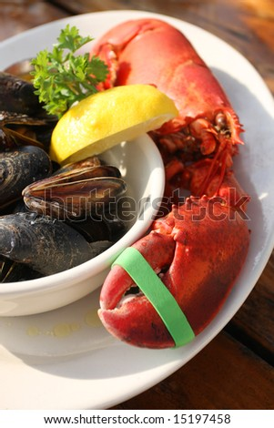 Atlantic Lobster Dinner - stock photo