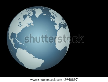 Atlantic Ocean. Accurate.  Mapped onto a globe. Includes many small islands, lakes, etc - stock photo