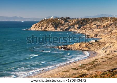 Atlantic Ocean coast landscape, Gibraltar strait, Morocco - stock photo