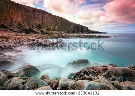 Atlantic ocean coastline in Ireland - stock photo