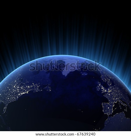 Atlantic ocean 3d render. Maps from NASA imagery - stock photo