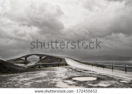 Atlantic road, Norway (Atlanterhavsvegen) - stock photo
