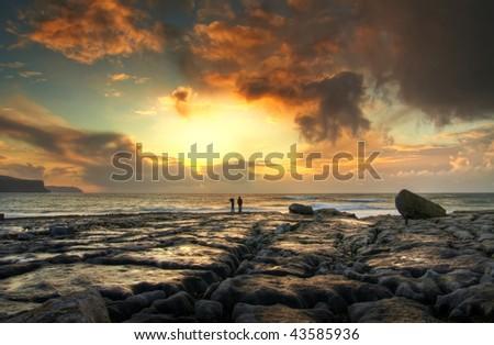 Atlantic sunset - stock photo