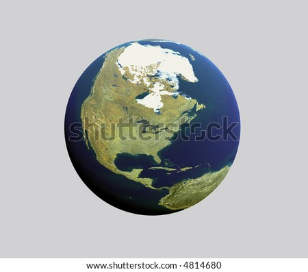 Atlas round map of North America and Canada