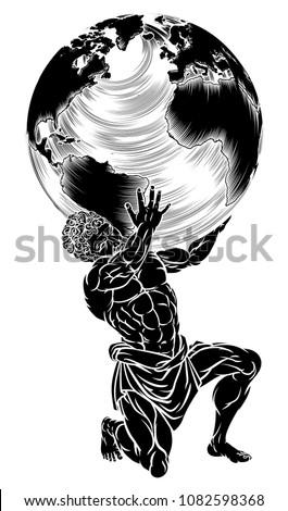 Atlas Titan Greek Mythology Symbol Strength Stock Illustration