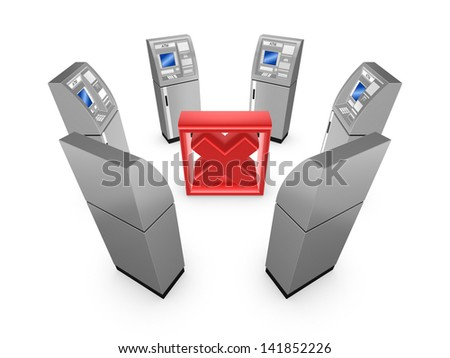 ATM around cross mark.Isolated on white.3d rendered. - stock photo