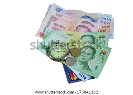 ATM cards and thai banknotes.  - stock photo