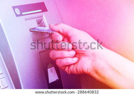 ATM Cash Machine Card Using - stock photo