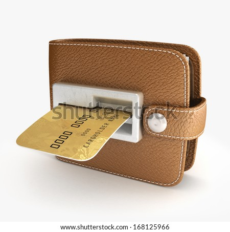 ATM cash point slot in the wallet - stock photo