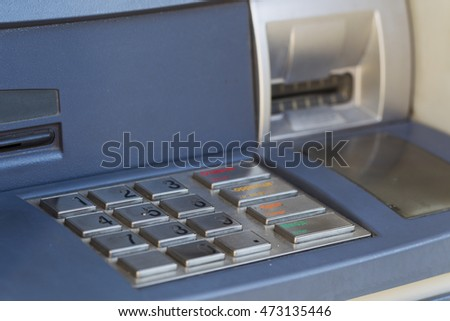 ATM for cash distribution, natural light, Macro