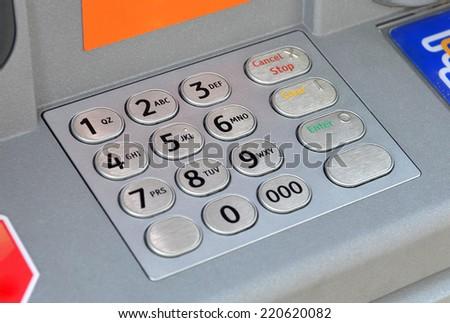 ATM keypad machine detail. Cash point close up - stock photo