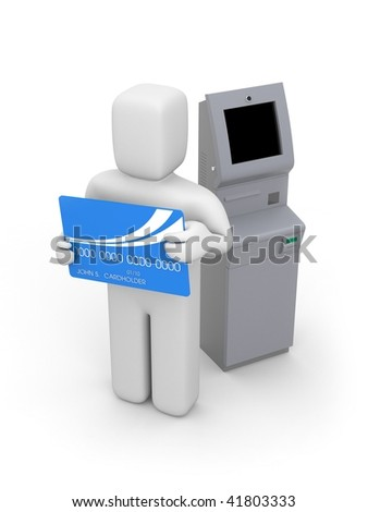 Atm machine and person with bankcard - stock photo