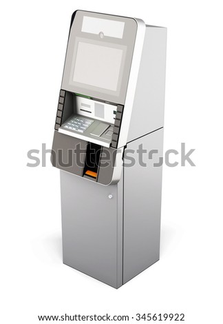 ATM machine isolated on white background. 3d rendering.