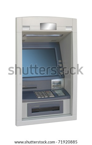 ATM machine - lateral view - stock photo