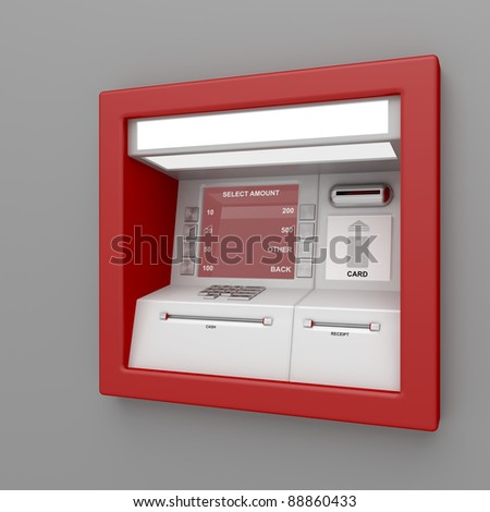 ATM machine on gray wall - stock photo