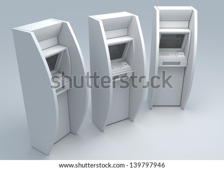 ATM machine on isolated background - stock photo