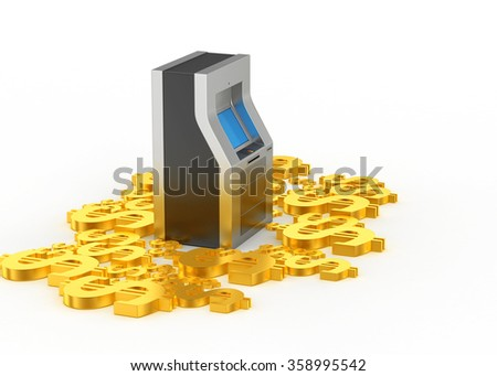 ATM machine with dollar signs - stock photo