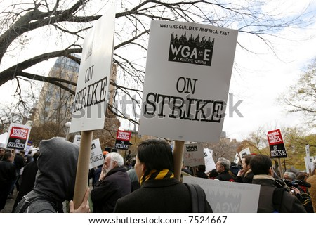 Atmosphere at the Writers Strike - stock photo