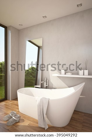 Atmosphere Bathroom in Sun with Bathtub 3D rendering.