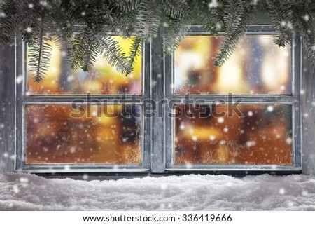 Atmospheric Christmas window sill decoration with home cozy interior. - stock photo