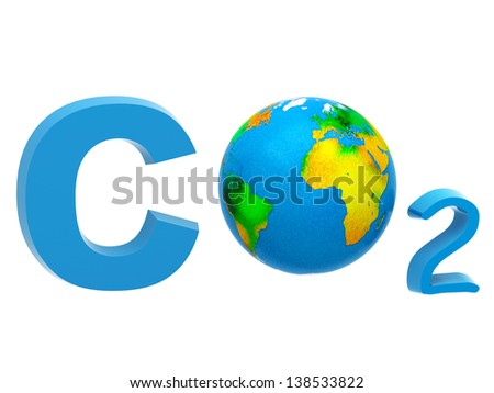 Atmospheric pollution concept: CO2 formula - stock photo