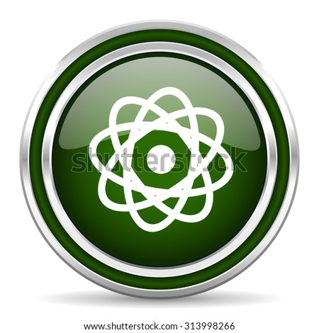 atom green glossy web icon modern design with double metallic silver border on white background with shadow for web and mobile app round internet original button for business usage  - stock photo