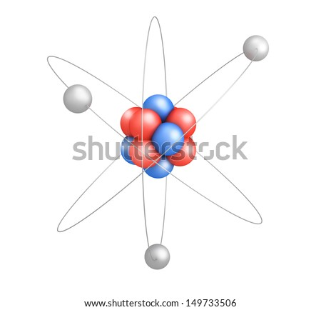 Atom model with red and blue elements on white background - stock photo