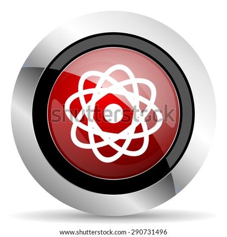 atom red glossy web icon original modern design for web and mobile app on white background  - stock photo