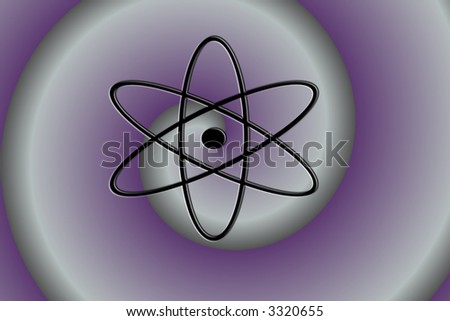 Atom Symbol on Purple Swirl Background