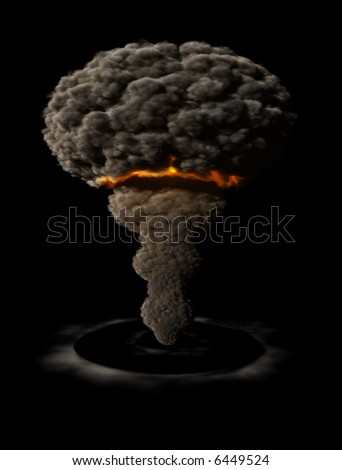 Atomic explosion with shock wave - stock photo