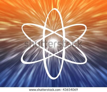 Atomic nuclear symbol scientific illustration of orbiting atom - stock photo