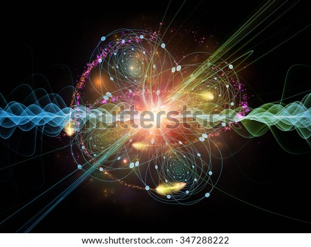 Atomic Wave  series. Interplay of lights, orbits , waves and fractal elements on the subject of science, theoretical physics, technology and education