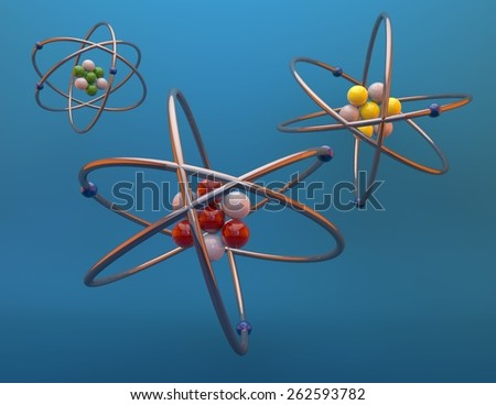 Atoms 3d render illustration, blue background. - stock photo
