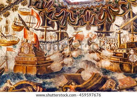ATOTONILCO, MEXICO - DECEMBER 29, 2014 Spanish Sea Battle Fresco Sanctuary of Jesus Atotonilco Mexico. Built in the 1700s by Miguel Antonio Martinez between 1740 and 1775.