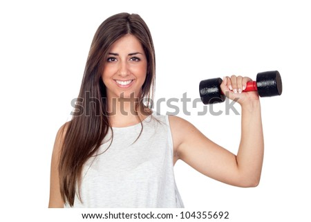 Atractive girl training in the gym isolated on white background