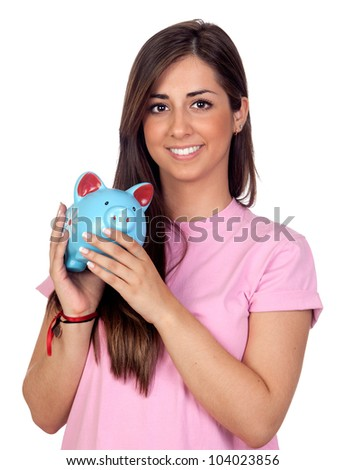 Atractive girl with a blue piggy-bank isolated on white background - stock photo