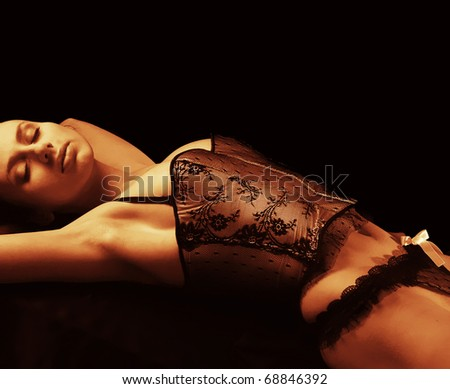 Atractive woman in sexy lingerie - stock photo