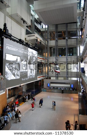 Atrium of Newseum in Washington DC, vertical - stock photo