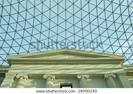 Atrium of the British Museum in London, England - stock photo
