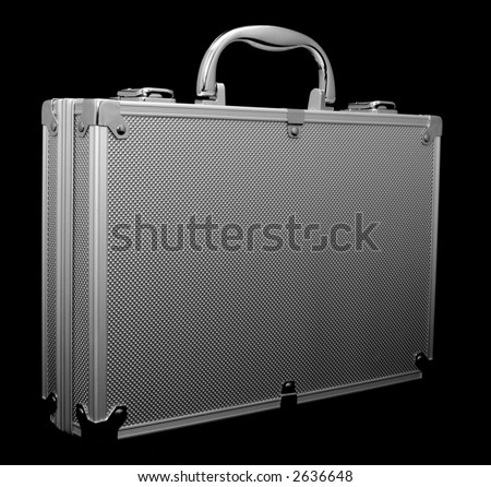 attache case - isolated black - stock photo
