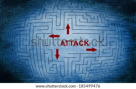 Attack maze concept - stock photo