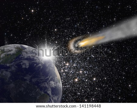 "Attack of the asteroid on the Earth ""Elements of this image furnished by NASA """