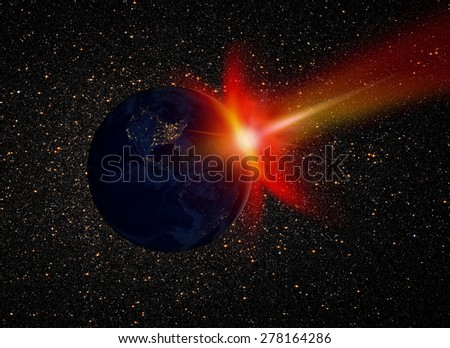 "Attack of the asteroid on the Earth ""Elements of this image furnished by NASA ""  - stock photo"